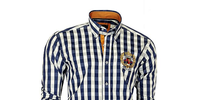 Pánska modro-biela kockovaná košeľa Pontto