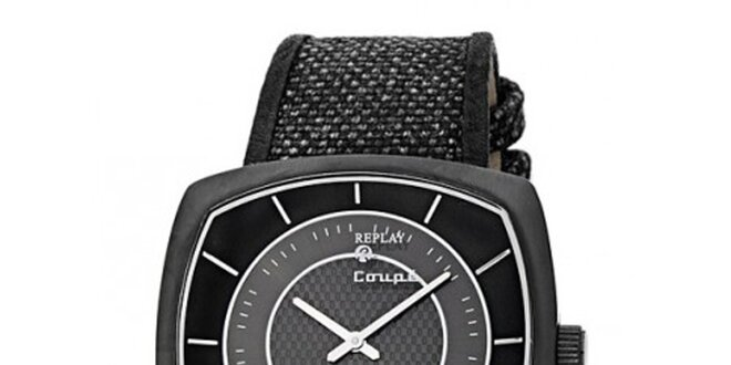 d02e6927a Pánske čierno-šedé hranaté hodinky Replay | Zlavomat.sk