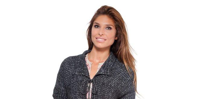139a39a051a2 Dámsky šedý zaväzovací sveter s brmbolcami Peace Love