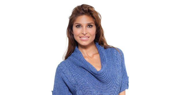 Dámsky modrý pletený sveter Peace Love  aa6c0b44183