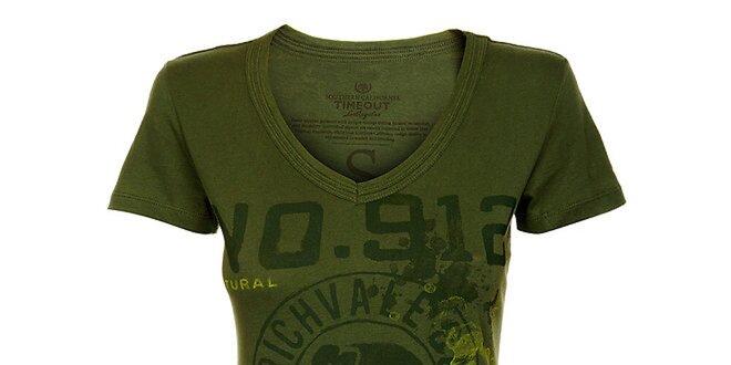 bef9f975d0a0 Dámske tmavo zelené tričko Timeout s potlačou