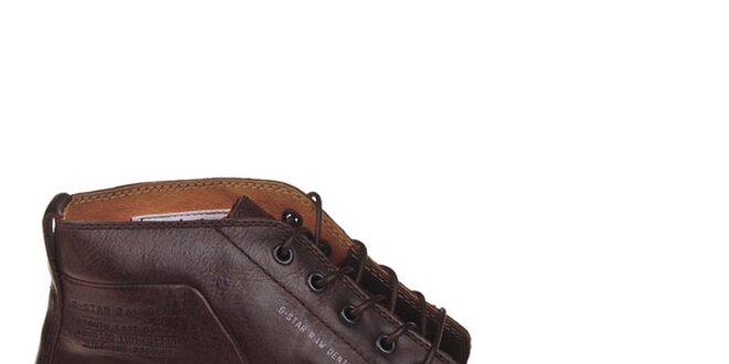 Pánske tmavo hnedé kotníčkové boty G-Star