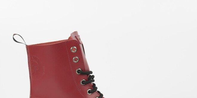Dámske bordó kožené punkové topánky Diesel