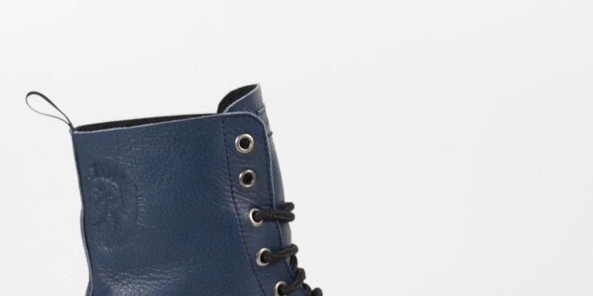 Dámske petrolejové kožené punkové topánky Diesel