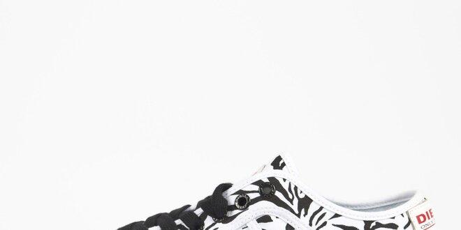 Dámske bielo-čierne zebrované tenisky Diesel