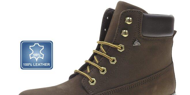 Pánske tmavo hnedé zimné kožené topánky Beppi  01c02bcbb04