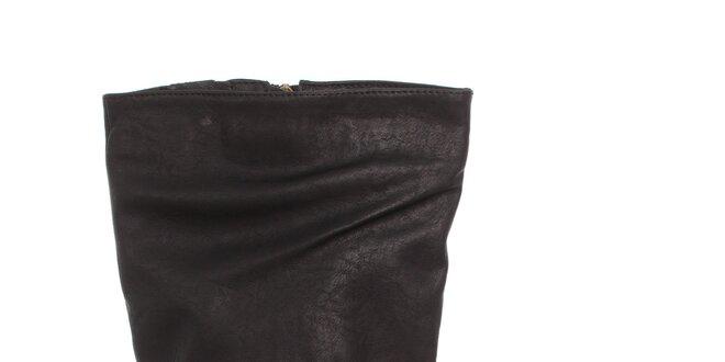 Dámske čierne čižmy Moow s prekríženými opaskami