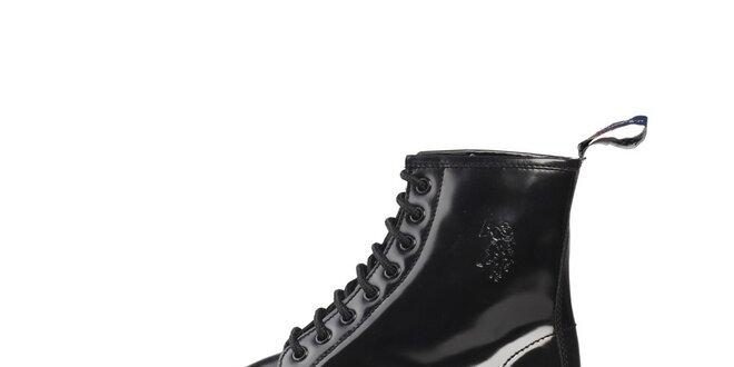 Pánske čierne lakované šnurovacie topánky U.S. Polo