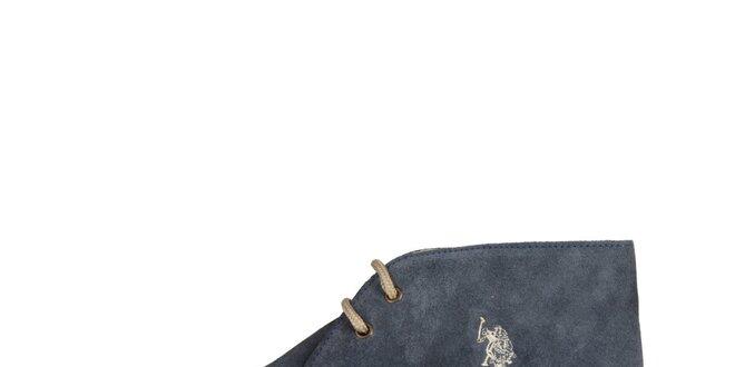 Pánske džínsove modré členkové semišové topánky U.S. Polo