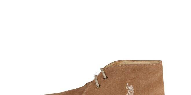 Pánske tmavo béžové členkové semišové topánky U.S. Polo