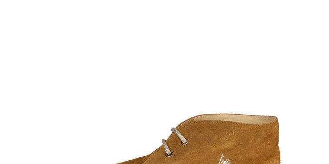 Pánske svetlo hnedé členkové semišové topánky U.S. Polo