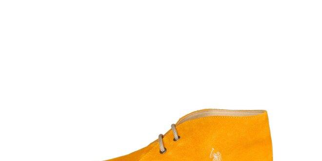 Pánske tmavo žlté členkové semišové topánky U.S. Polo