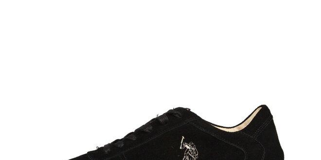 Pánske čierne semišové šnurovacie topánky U.S. Polo