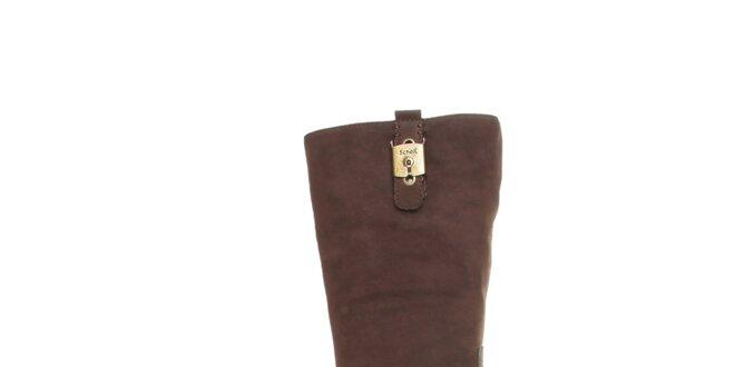 e708e4f27b92 Dámske vysoké hnedé kožené čižmy Dr. Scholl s prackou