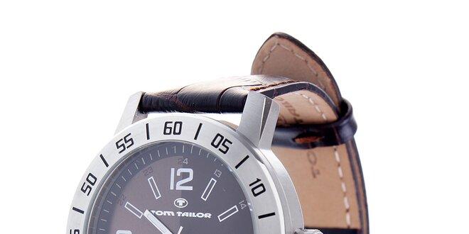 c1f0e0b9c Oceľové hodinky Tom Tailor s tmavo hnedým koženým remienkom ...