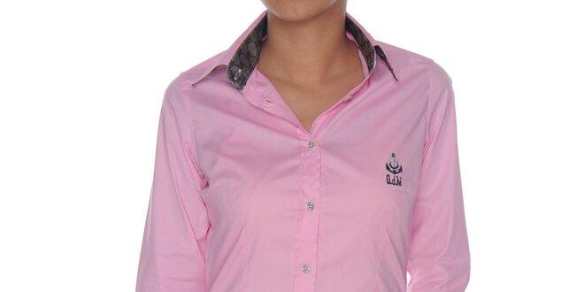 332bcc1f900d Dámska ružová košeľa so striebornými detailmi Giorgio di Mare ...