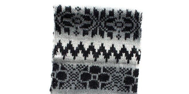 Dámska pletená šedo čierna šála Nolita