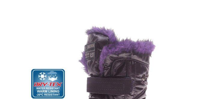 Dámske fialové snehule s kožúškom Beppi