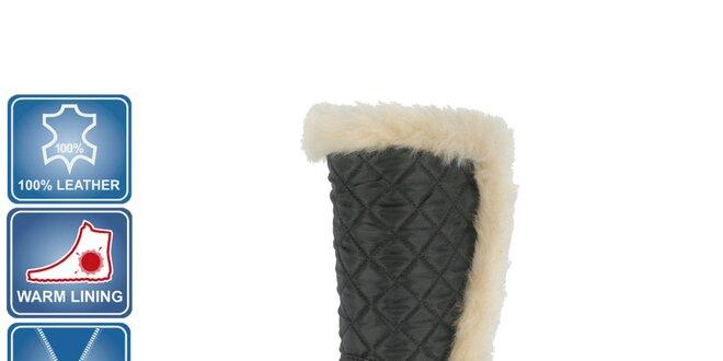 Dámske čierne kožené čižmy s kožúškom Beppi