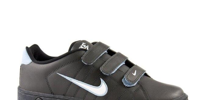 4d9f8e8c6a05 Pánske čierne kožené tenisky Nike s bielym logom