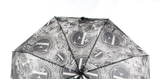 Dámsky čierno-biely vystreľovací dáždnik s dekoratívnym vzorom Ferré Milano