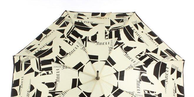 Dámsky béžovo-čierny vystreľovací dáždnik Ferré Milano