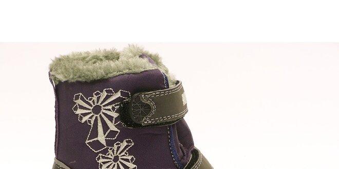 Detské zimné fialovo-šedé topánky Numero Uno