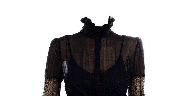 f358cd3f3cc9 Dámska čierna transparentná blúzka so stojáčikom Max Mara