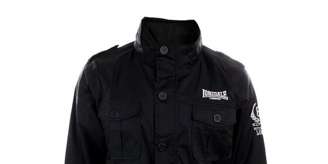 80d07db3292 Pánska čierna bunda s bielymi lemami Lonsdale
