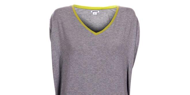 Dámska svetlo šedá nočná košeľa DKNY so žltým lemom