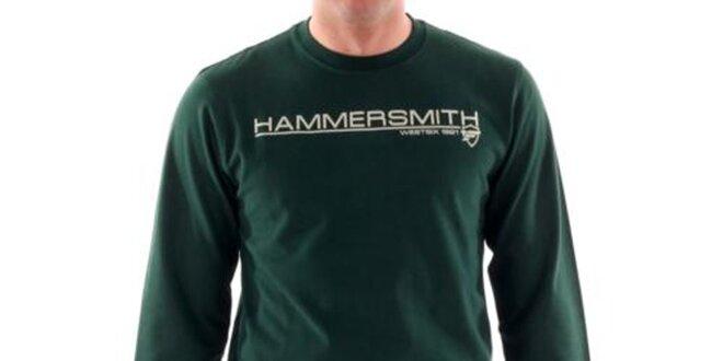 6c20ff496401 Pánske tmavo zelené tričko s nápisom na hrudi Hammersmith