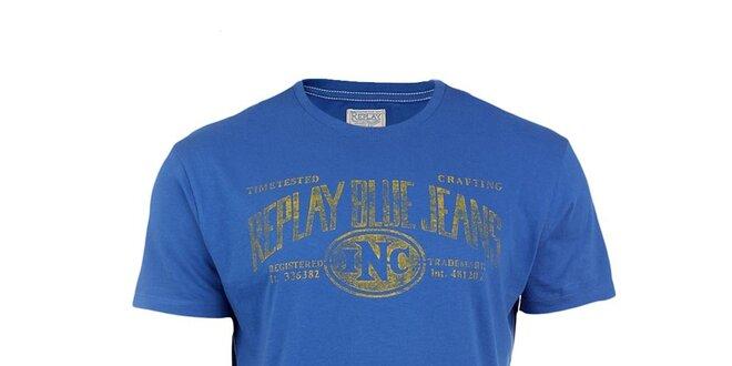 f2030d51a043 Pánske modré tričko s potlačou Replay