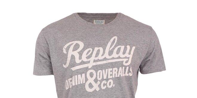 84f5fdd691d5 Pánske šedé tričko s nápisom Replay