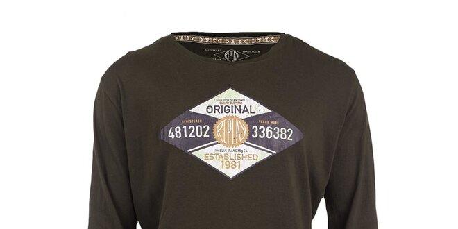 a99a43c856cd Pánske tmavo hnedé tričko s dlhým rukávom Replay