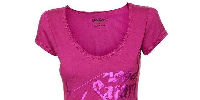 73fc9a613b08 Dámske fuchsiové tričko Fundango s metalickou potlačou
