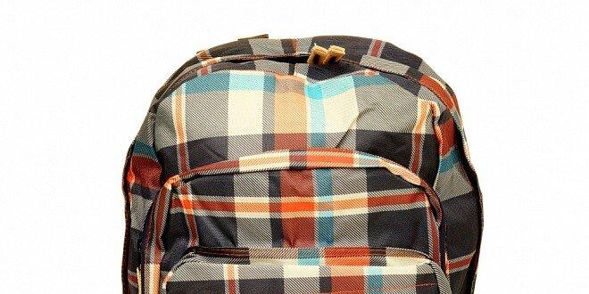 Modro-červený kockovaný batoh Fundango