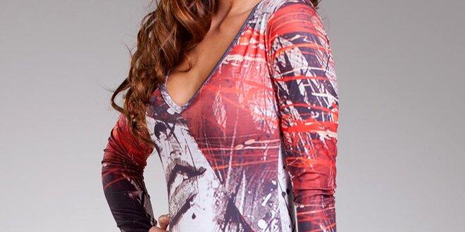 Dámske farebné šaty Culito from Spain s hlbokým výstrihom