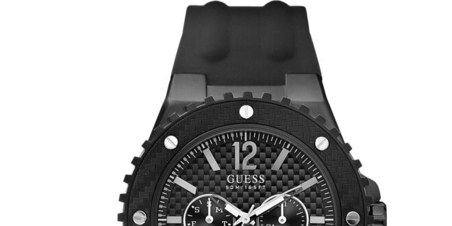 Pánske čierne analógové hodinky Guess