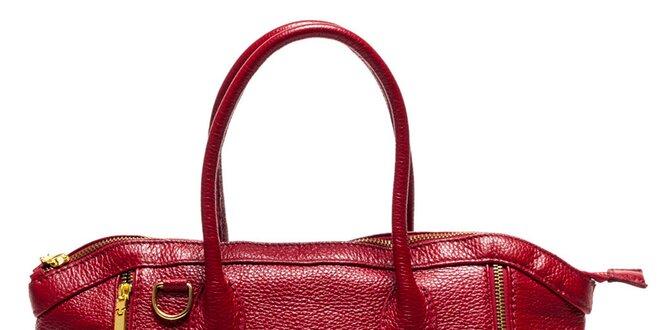 Dámska červená kabelka so zipsami Luisa Vannini