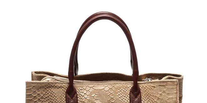 Dámska hnedá kabelka so vzorom hadej kože Luisa Vannini