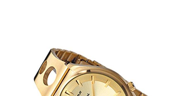 Pánske zlaté hodinky s prelamovaným náramkom Replay