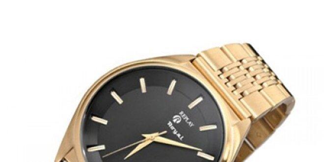 Pánske zlaté hodinky s oceľovým púzdrom Replay