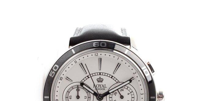 Pánske oceľové hodinky Royal London s bielym guľatým ciferníkom