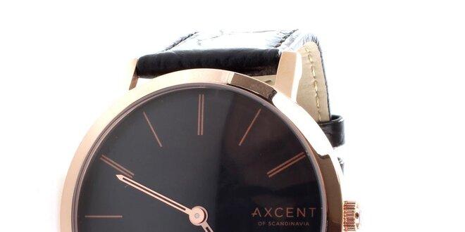 Pánske čierno-zlaté analógové hodinky Axcent