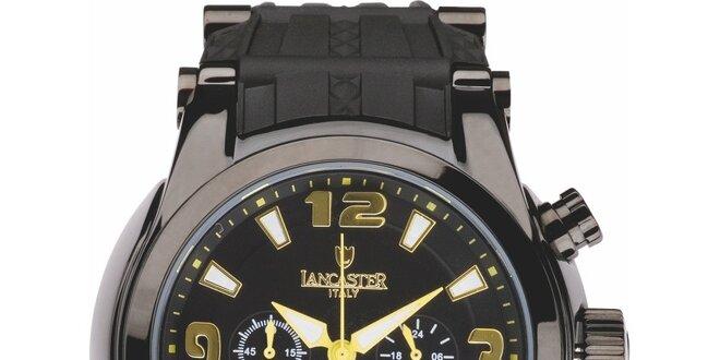Pánske čierne hodinky so žlto-zlatými detailmi a chronografom Lancaster