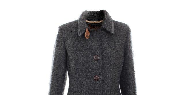 99ca232c382d Dámsky šedý vlnený kabát s koženými detailmi Aeronautica Militare ...