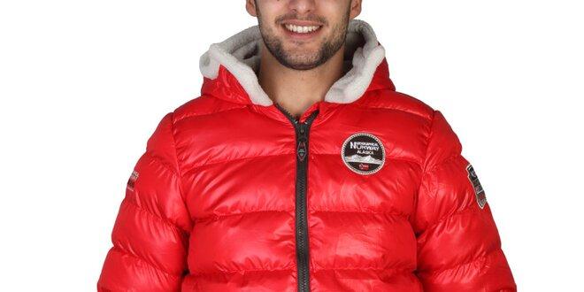Pánska červená zimná bunda s kapucňou Geographical Norway  471dda0deaf