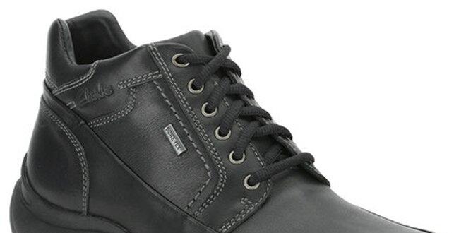 Pánske čierne kotníkové topánky Clarks s GTX membránou  f5c7fb447c4