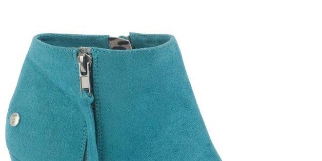 Dámske tyrkysové semišové členkové topánky na platforme Blink