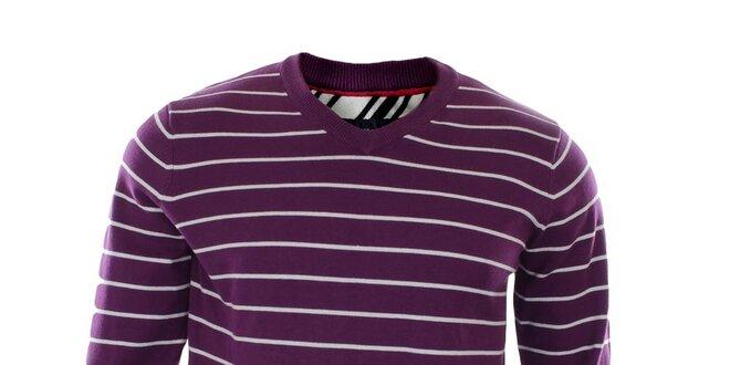 Pánsky fialový pruhovaný svetrík Tommy Hilfiger  f4de64b03bd